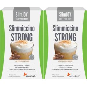 SlimJOY Slimmiccino STRONG 1+1 FREE   Fat-burning coffee with Garcinia Cambogia and green coffee   4-in-1 slimming action   20-day programme   2x 10 sachets