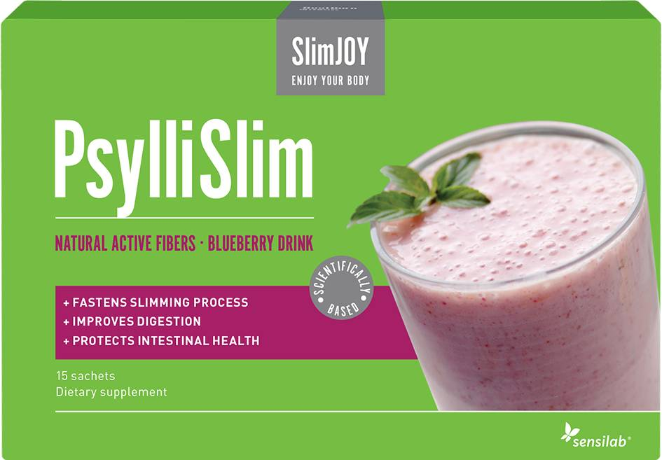 SlimJOY PsylliSlim fibre drink - improves digestion. Blueberry drink. 15 sachets.