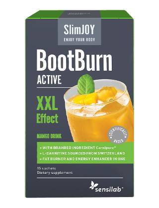 SlimJOY Fat Burner BootBurn ACTIVE with XXL Effekt. Mango drink. 15 sachets