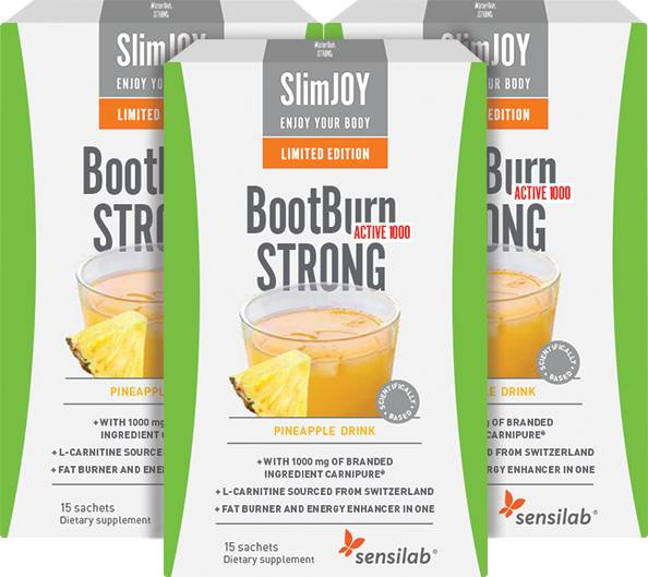 SlimJOY BootBurn STRONG ACTIVE 1000   Effective Fat Burning   Limited Edition Pineapple Flavour   45-day Programme   SlimJOY