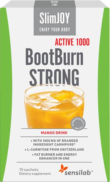 SlimJOY Fat Burner BootBurn STRONG ACTIVE 1000. Mango drink. 15 sachets