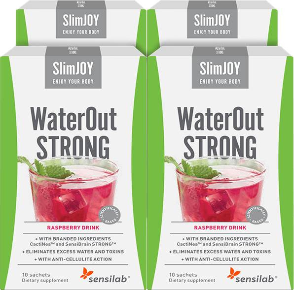SlimJOY WaterOut Strong - fastest slimming effect. Raspberry drink. 4x 10 sachets