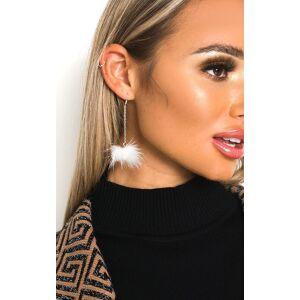 ikrush Women's Abigail Fluffy Pom Pom Earrings  in WHITE (Size: 1SZE)