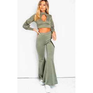 ikrush Women's Ainslie Cut Out Lounge Co-ord  in KHAKI (Size: 8)