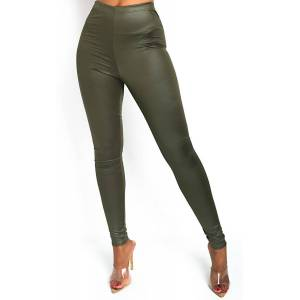 ikrush Women's Bea Basic Shine Leggings  in KHAKI (Size: 6)