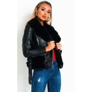 ikrush Women's Darcey Faux Leather Aviator Jacket  in BLACK (Size: M)