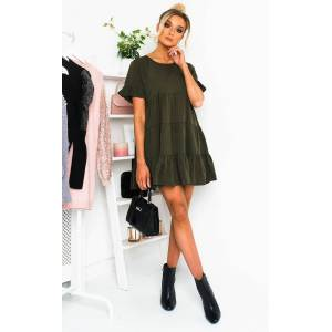 ikrush Women's Milly Frill Shift Dress  in KHAKI (Size: 8)