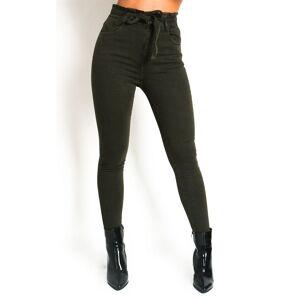 ikrush Women's Nicki Tie Waist Denim Jeans  in KHAKI (Size: 8)