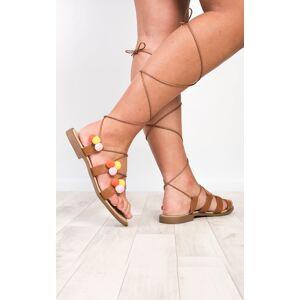 ikrush Women's Ammarah Pom Pom Sandals  in TAN (Size: 7)