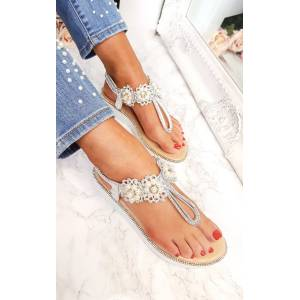 ikrush Women's Aviana Pearl Embellished Wedged Sandals  in SILVER (Size: 4)