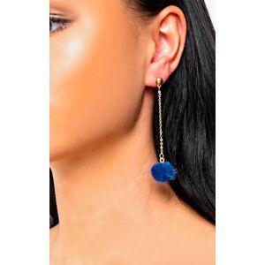ikrush Women's Ronnie Drop Pom Earrings In Navy  in NAVY (Size: 1SZE)