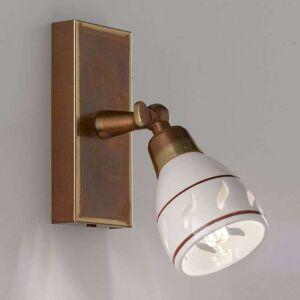 Cremasco Bassano small wall spotlight, ceramic lampshade