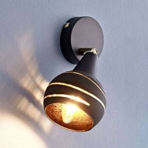 Lampenwelt.com Lynette wall spotlight, black and gold, one-bulb