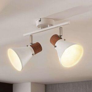 Lampenwelt.com 2-bulb ceiling spotlight Silva with cork decor