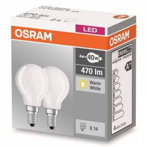 Osram E14 4 W 827 LED golf ball bulb, matt, set of two
