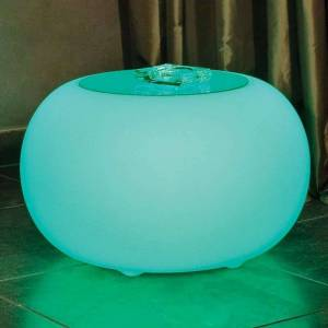 Moree Bubble LED BATTERY Outdoor table with glass panel