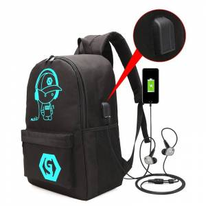 Backpack Night Light USB Charging Men Laptop Backpack Middle School Student Anti-theft Password Lock Women Travel Bag