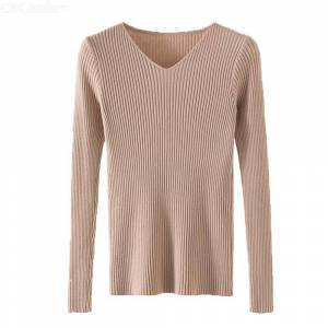 Slim Ribbed Knit Sweater Casual Warm V-Neck Sweaters Solid Color Long Sleeve Pullover Tops For Women