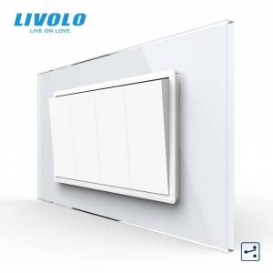 Livolo C9 US AU Standard 90mm Luxurious Telephone Com TV SATV aiduo socket, white Pearl Crystal Glass panel, socket plugs