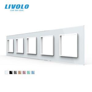 Livolo Luxury 7colors Crystal Glass Switch Panel, 364mm*80mm, EU standard,Quintuple Glass Panel For Wall Socket C7-5SR-11
