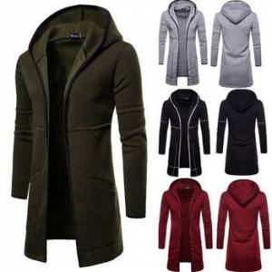Mens New Style Autumn Winter Coat Warm Trench New Fashion Long Overcoat Casual Solid Outwear Cardigan