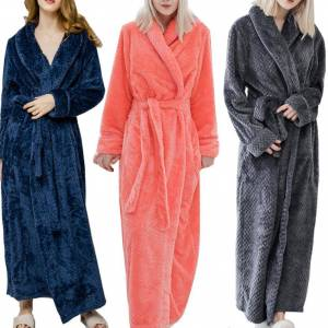 Winter Robes Sleepwear Long Robes Fashion Women Solid Color Thicken Plush Long Sleeve Bathrobe Sleepwear Women Lounge Robes