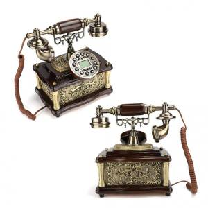 Retro Classical Telephone European Style Caller ID Display Telephone Landline with Sleek Handle Cordless Phone