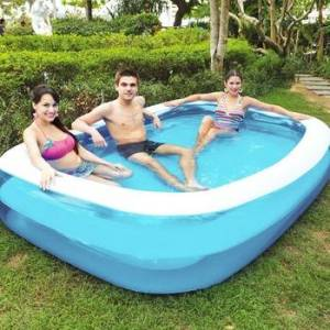 Summer Inflatable Swimming Pool Adults Kids Thicken PVC Rectangle Bathing Tub Comfortable Children Portable Elements