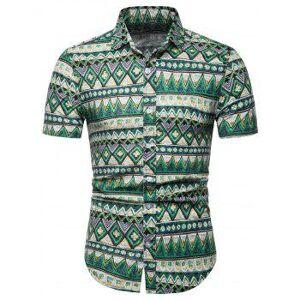 Contrast Geometric Short Sleeve Shirt