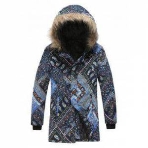 Plus Size Paisley and Floral Patchwork Print Hooded Zip Up Parka Coat