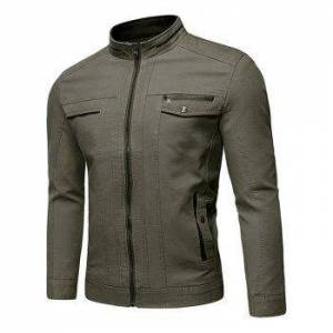 Solid Faux Pocket Zip Up Stand Collar Jacket