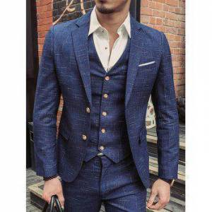 Plaid Jacquard Single Breasted Three Pieces Business Suits