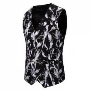 Gliding Lightning Print Double Breasted Casual Vest