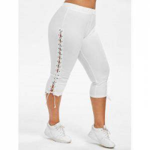 Plus Size Cropped Lace Up Leggings