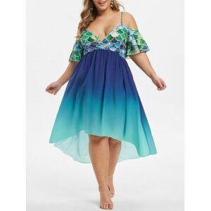 Mermaid Scales Open Shoulder Ombre Plus Size Dress