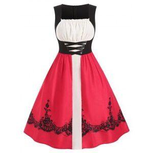 Christmas Ruched Crisscross Floral Plus Size Vintage Dress