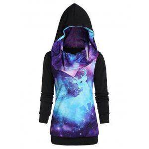 Galaxy Print Long Sleeve Tunic Hoodie