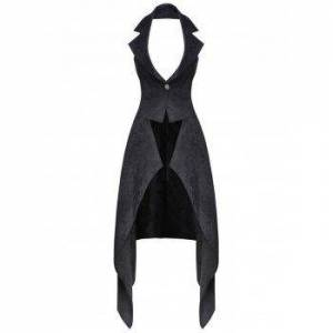 Halter Lace-up Back Asymmetric Jacquard Vest