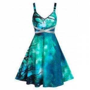 Starry Print Sequin Panel Cami A Line Dress