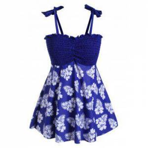 Plus Size Smocked Floral Print Tankini Swimsuit