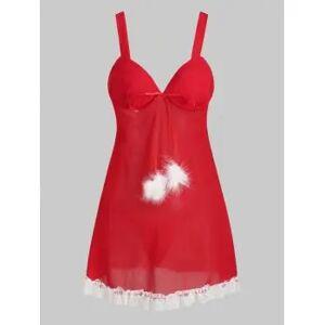 Christmas T Back Lace Trim Fuzzy Pompoms Sheer Mesh Plus Size Babydoll
