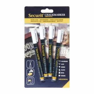 Securit 2mm Liquid Chalk Pens White (Pack of 4)