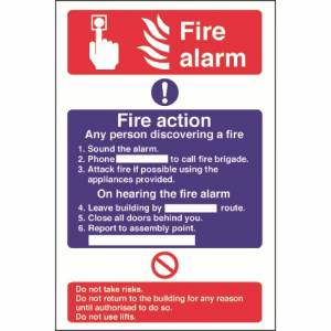 Nisbets Fire Alarm / Fire Action Sign Self Adhesive