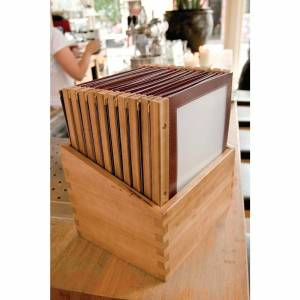 Securit Wood Spine American Style Menu Covers and Storage Box A4 Red