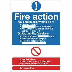 Nisbets Fire Action Sign