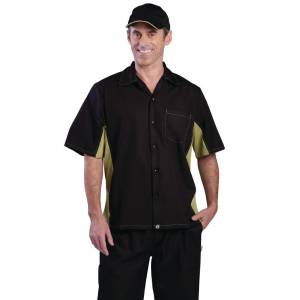 Chef Works Unisex Contrast Shirt Black and Lime M Size: M