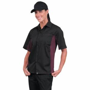 Chef Works Unisex Contrast Shirt Black and Merlot XS Size: XS