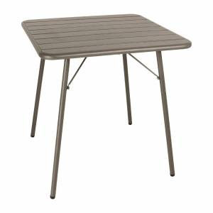 Bolero Slatted Square Steel Table Coffee 700mm