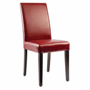 Bolero Faux Leather Dining Chairs Red (Pack of 2)