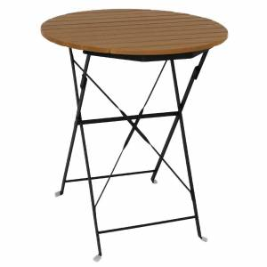 Bolero Round Faux Wood Bistro Folding Table 600mm